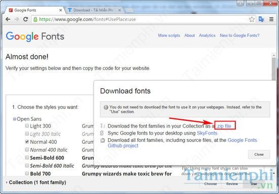 cai font google cho laptop