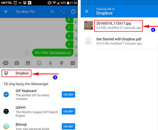 Chia sẻ file Dropbox trong Facebook Messenger
