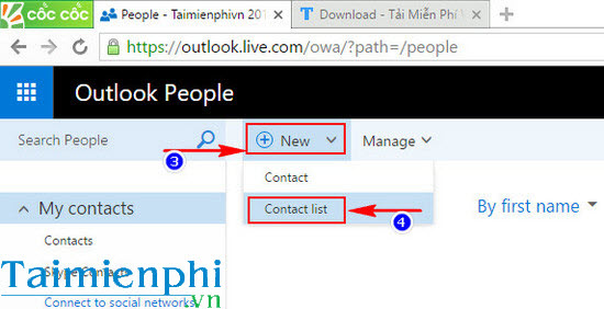 Tạo nhóm trong Hotmail, tạo group email trong Hotmail