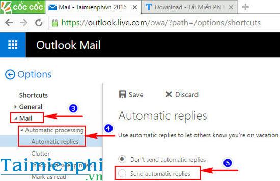 Tạo thư trả lời tự động trong Hotmail