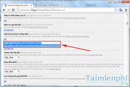 Tắt Smooth Scrolling, turn of Smooth Scrolling trong Google Chrome