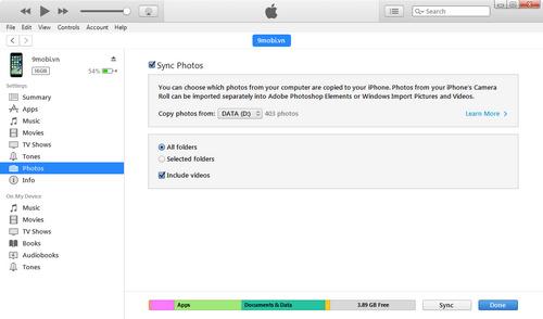 Chuyển dữ liệu danh bạ, tin nhắn, hình ảnh, video từ Android sang iPhone, iPad 13