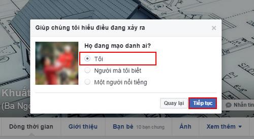 Báo cáo tài khoản Facebook giả danh