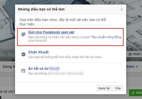 bao cao tai khoan facebook
