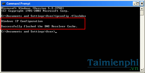 How to clear cache dns windows xp