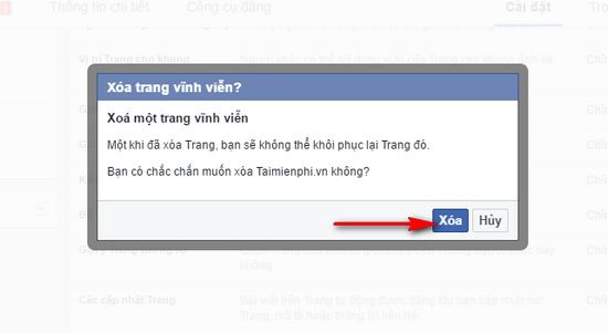 xoa fanpage fb