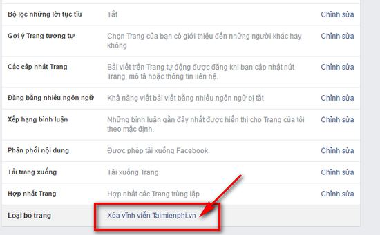 xoa page facebook
