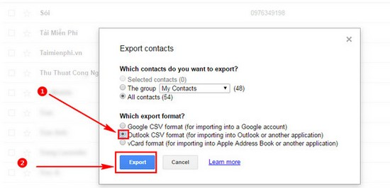 export danh ba tu google mail