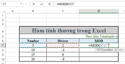ham tinh thuong trong excel 5