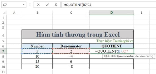 ham tinh thuong trong excel 8
