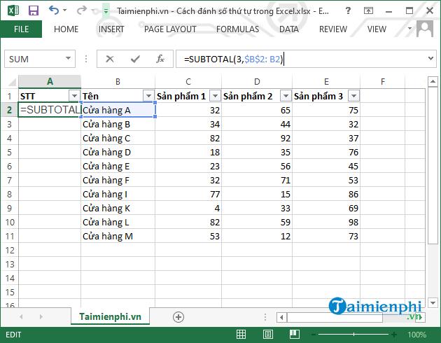 [taimienphi.vn] tổng hợp 7 cách đánh số thứ tự trong excel nhanh, đơn giản