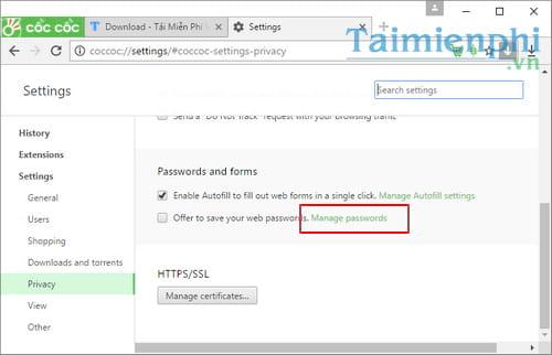 Xem mật khẩu đã lưu trên Cốc Cốc, quản lý mật khẩu bị quên