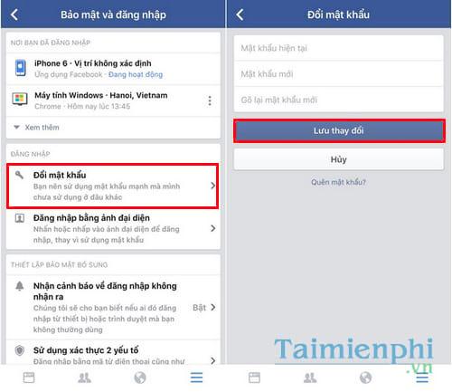 Đổi mật khẩu facebook trên điện thoại iPhone, SamSung, OPPO, Android 7