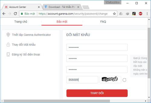 Đổi mật khẩu Garena, thay pass tài khoản Garena 4