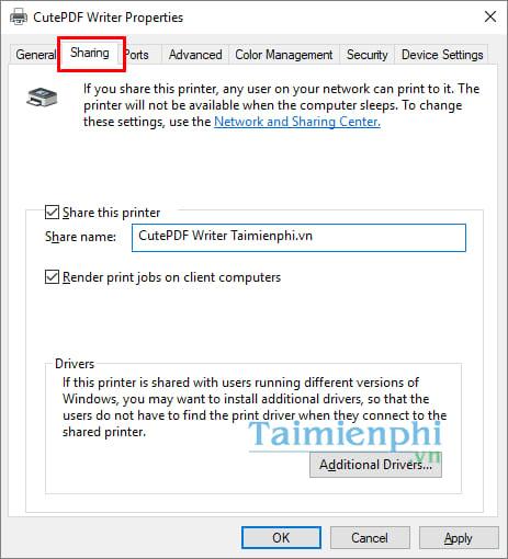 Hướng dẫn chia sẻ máy in trong mạng LAN windows 10, 7, XP 4