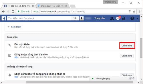 Đổi mật khẩu Facebook, thay password Facebook 4