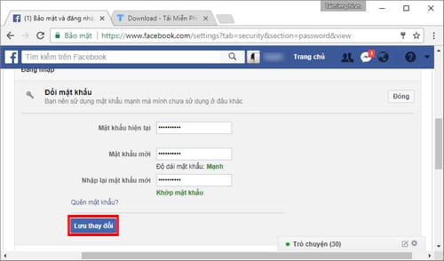 Đổi mật khẩu Facebook, thay password Facebook 5