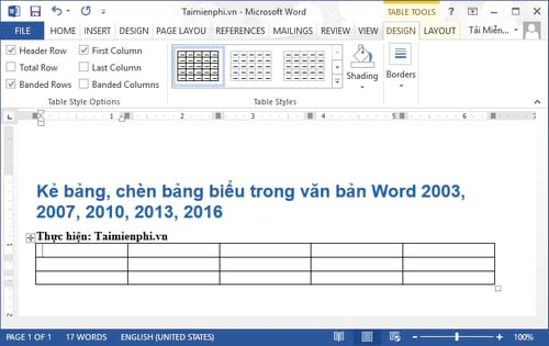Cách kẻ bảng, chèn bảng biểu trong văn bản Word 2003, 2007, 2010, 2013, 2016 2