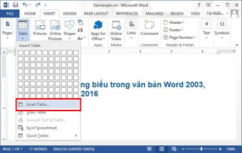 Cách kẻ bảng, chèn bảng biểu trong văn bản Word 2003, 2007, 2010, 2013, 2016 3