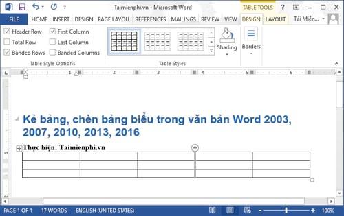 Cách kẻ bảng, chèn bảng biểu trong văn bản Word 2003, 2007, 2010, 2013, 2016 5