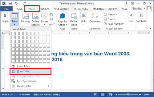 Cách kẻ bảng, chèn bảng biểu trong văn bản Word 2003, 2007, 2010, 2013, 2016 6