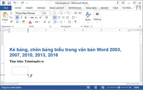 Cách kẻ bảng, chèn bảng biểu trong văn bản Word 2003, 2007, 2010, 2013, 2016 7