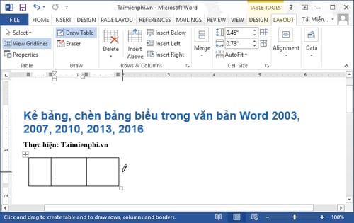 Cách kẻ bảng, chèn bảng biểu trong văn bản Word 2003, 2007, 2010, 2013, 2016 8