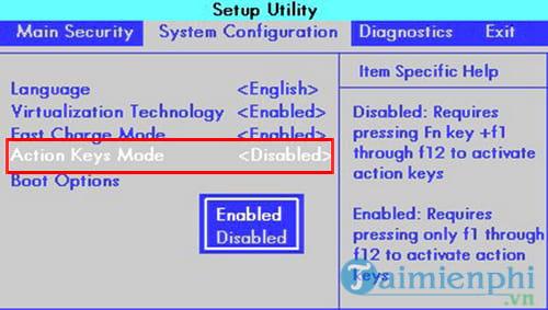 Cách bật, tắt phím chức năng FN + F1, F2, F3, ... F12 trên Laptop 5
