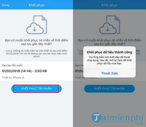 Cách lấy lại tin nhắn Zalo, khôi phục tin nhắn Zalo bị xóa 16