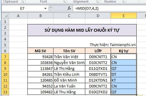 [taimienphi.vn] hàm lấy chuỗi ký tự trong excel là hàm nào?