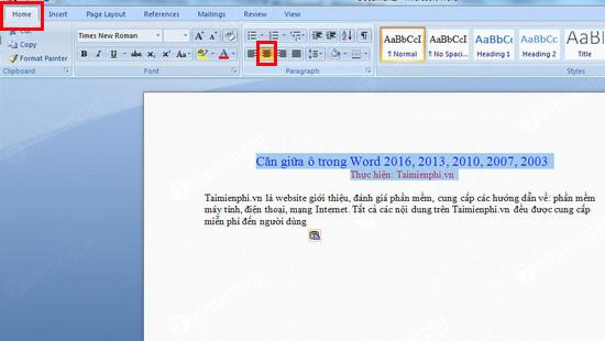 Căn giữa ô trong Word, Excel 3