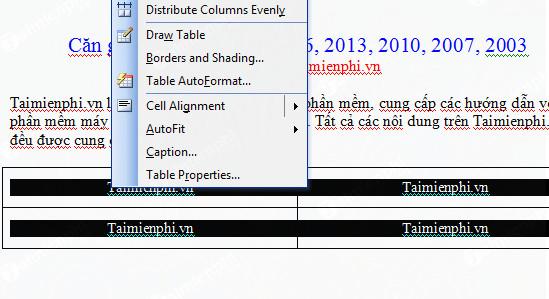 Căn giữa ô trong Word, Excel 9