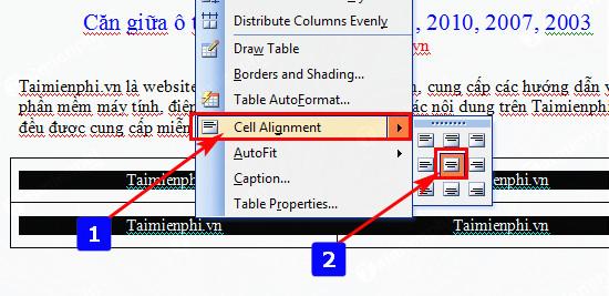 Căn giữa ô trong Word, Excel 10
