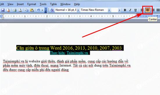 Cách căn giữa ô trong Word, Excel 2016, 2013, 2010, 2007, 2003