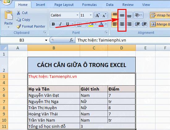 Căn giữa ô trong Word, Excel 15