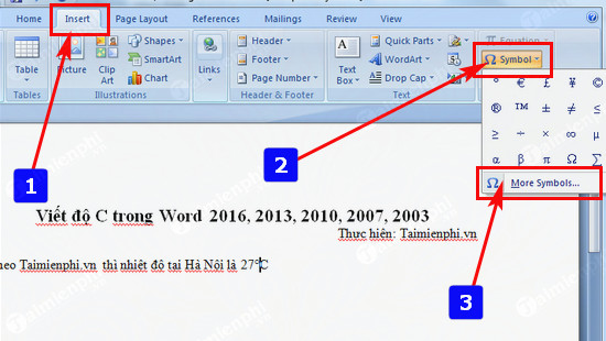 Viết độ C trong Word, Excel, Powerpoint  3
