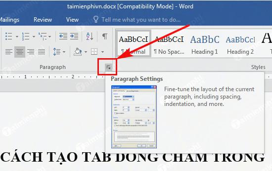 Cách tạo dòng chấm, tab (..........) trong Word 2010, 2016, 2013, 2007, 2003 2