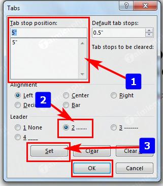 Cách tạo dòng chấm, tab (..........) trong Word 2010, 2016, 2013, 2007, 2003 4