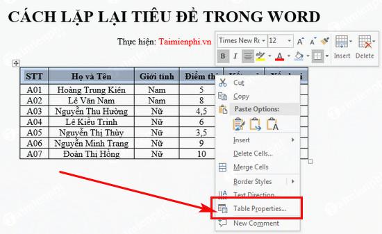 Cách lặp lại dòng tiêu đề của bảng biểu ở các trang trong Word 6