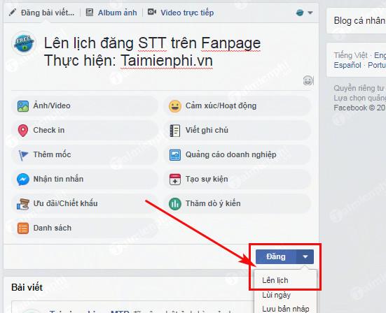 len lich cap nhat status tren fanpage facebook