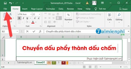 Cách chuyển dấu phẩy thành dấu chấm trong Excel 1