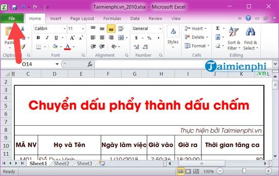 Cách chuyển dấu phẩy thành dấu chấm trong Excel 4